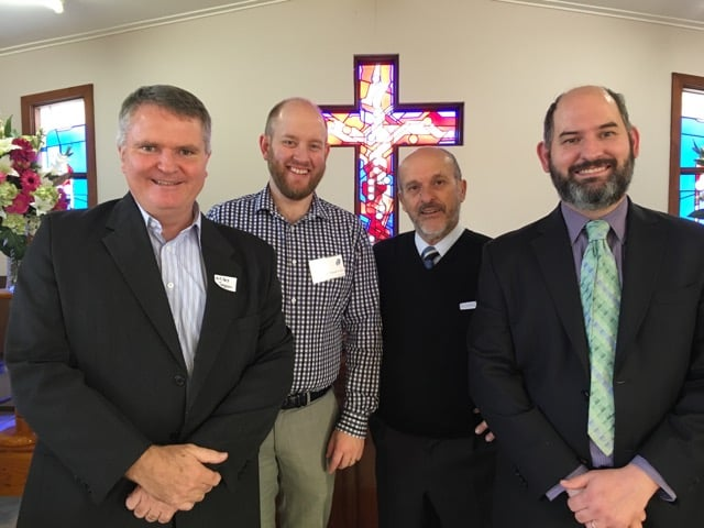 Group of ministers, past and present:  Miles Fagan, Brett Peatman, Andrew Campbell, John Dekker